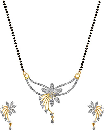 Buy Navya Mangalsutra Set Gold Plating American diamonds for women .