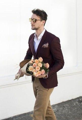 Men's Burgundy Blazer, White Long Sleeve Shirt, Khaki Chinos .