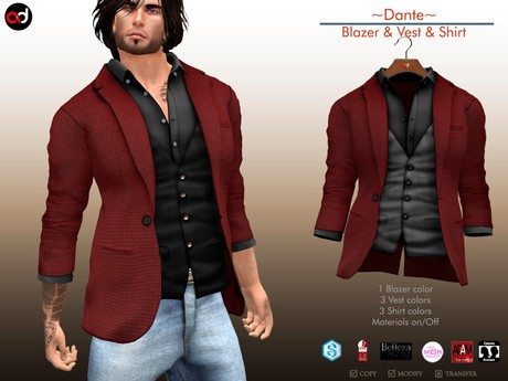 Second Life Marketplace - A&D Clothing - Blazer -Dante- Maro