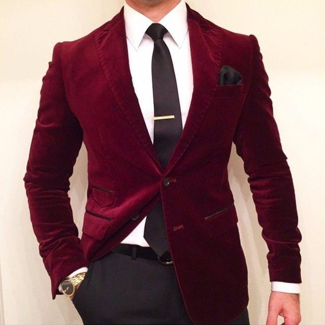 Red Velvet Blazer | Suit fashion, Burgundy blazer, Wedding suits m