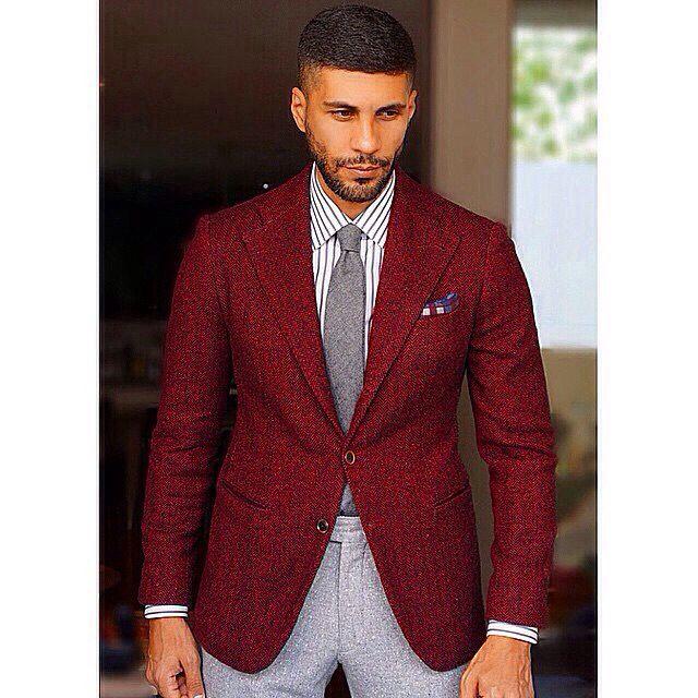 Maroon blazer, grey tie, white striped shirt, grey pants | Pants .