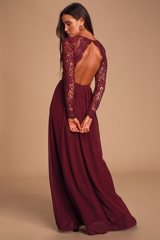 Lovely Burgundy Dress - Lace Maxi Dress - Long Sleeve Dre