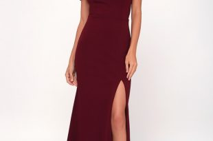 Burgundy Maxi Dress - Off-the-Shoulder Maxi Dress - OTS Ma