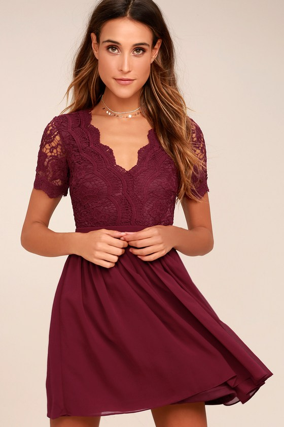 Lovely Burgundy Dress - Lace Dress - Lace Skater Dre