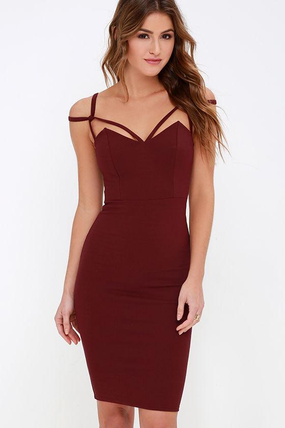 Maroon Dress - Midi Dress - Bodycon Dress - $48.