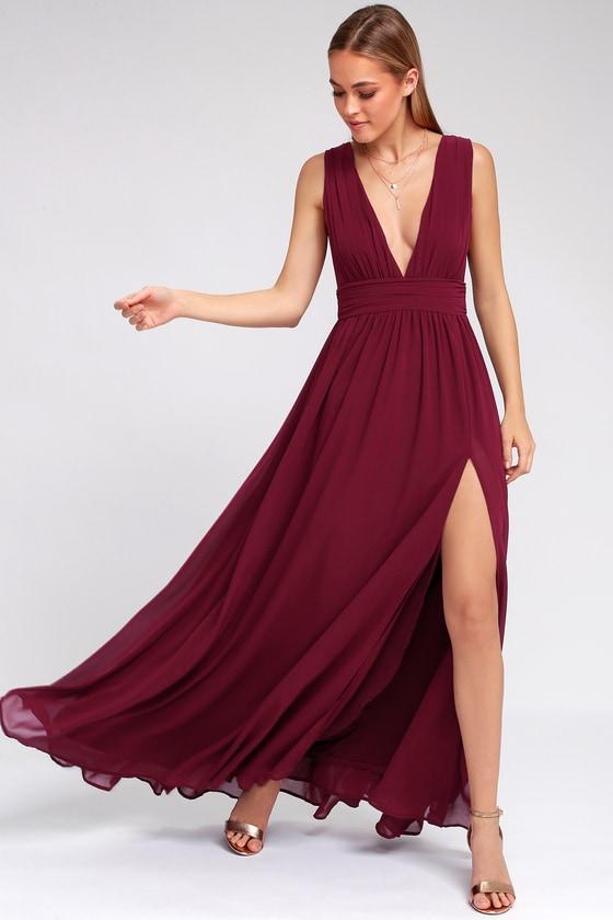 Burgundy Gown - Maxi Dress - Sleeveless Maxi Dre