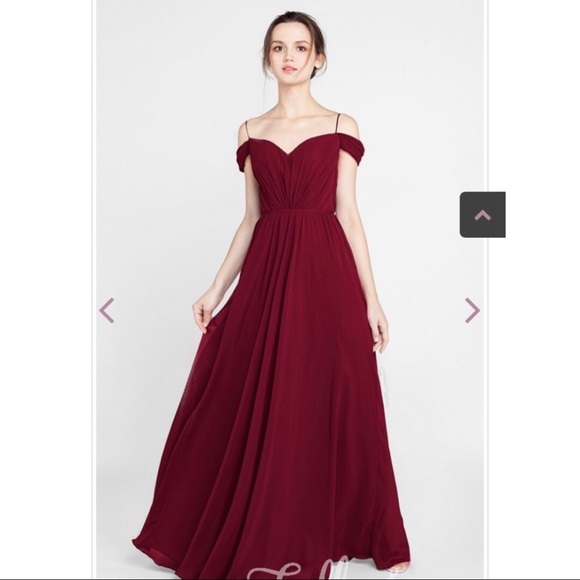 Dresses | Tully And Chantilly Off The Shoulder Maroon Dress | Poshma