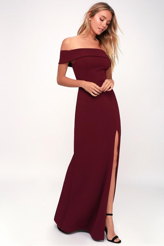 Burgundy Maxi Dress - Off-the-Shoulder Maxi Dress - OTS Ma