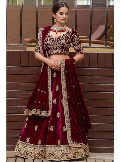 Maroon Velvet Embroidery Wedding & Bridal Designer Lehenga Cho