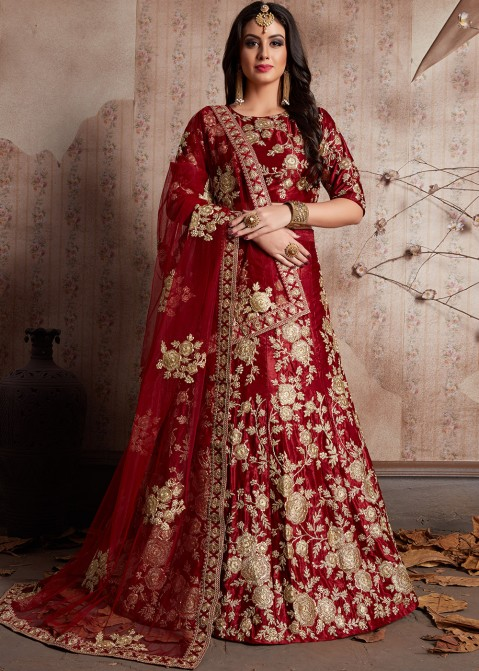 Maroon Embroidered Velvet Bridal Lehenga Choli Latest 1822LG