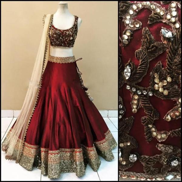 Maroon Art Silk Replica Indian Lehenga Choli Desig