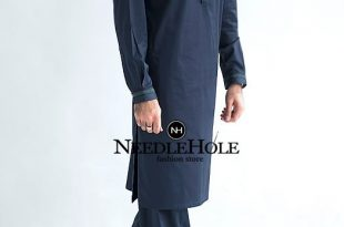 Amir Adnan Pakistani mens salwar kameez design in dark bl