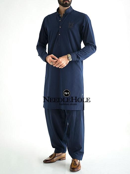 Amir Adnan Pakistani mens salwar kameez design in navy bl