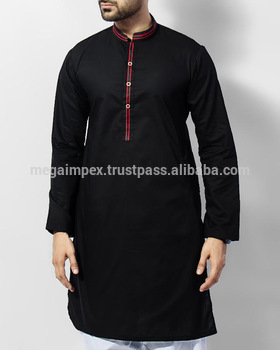 Mens Black Shalwar Kameez With Embroidery On Shoulders And Collar .