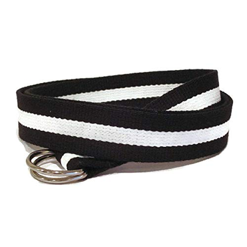 Amazon.com: Mens Belt/Black and White Canvas Belt/D-Ring Belt .