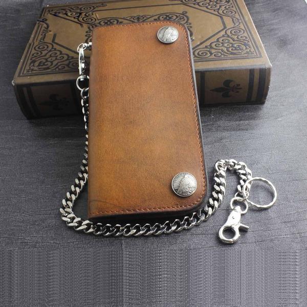 Genuine Leather Mens Chain Wallet Biker Wallet Cool Leather Wallet L