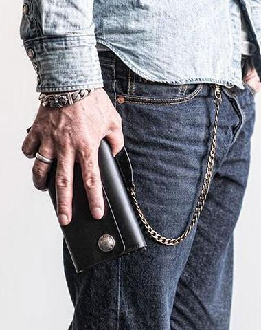 Cool Black leather biker chain wallets Black leather chain long wall