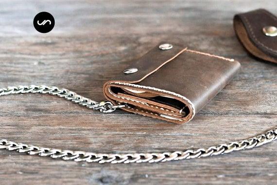 Mens Trifold Chain Wallet Biker Trifold Wallet Mens Leather | Et