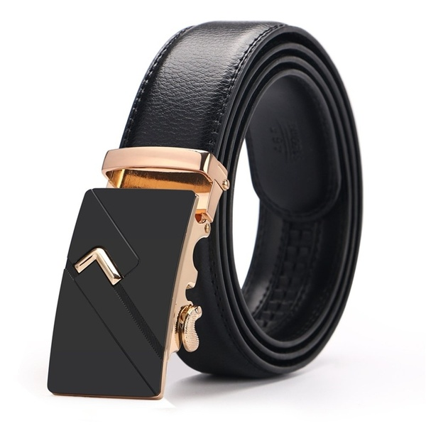 Dingmeiyue New Fashion Men's Designer Leather Metal Buckle Belts .