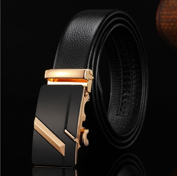 Men Leather Belts Automatic Buckles Belts Luxury Cow Leather Waist .