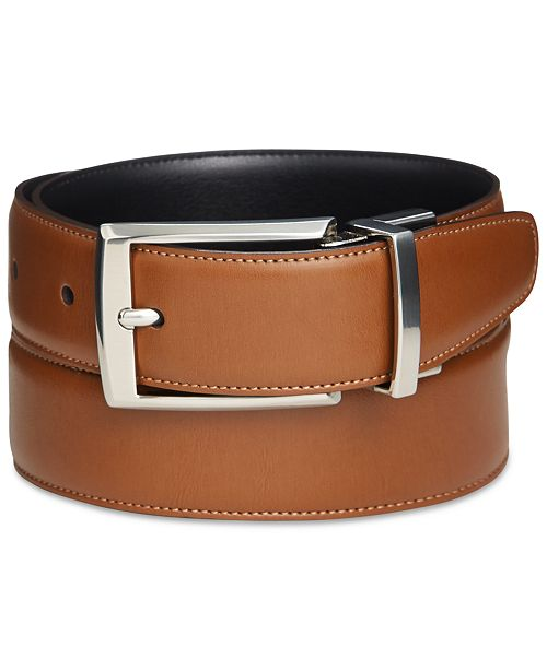 Perry Ellis Portfolio Men's Amigo Tan Leather Reversible Belt .