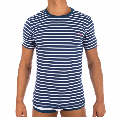 navy mens Tshirt with white stripes. Organic cott
