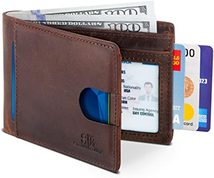 Travel Wallet RFID Blocking Bifold Slim Genuine Leather Thin .