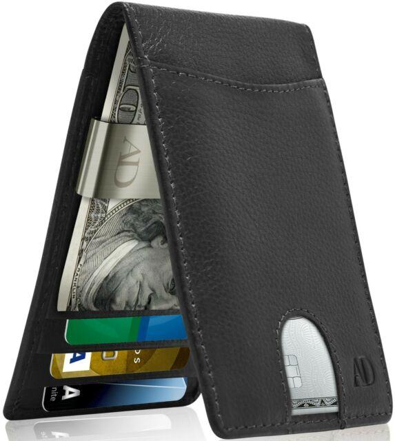 Vintage Mens Real Leather Wallet Long ZIPPER Clutch Money Clip .
