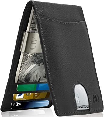 REAL LEATHER Wallets For Men - Money Clip Bifold Wallet RFID Front .