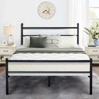 Shop Black Classic Metal Bed Frames with Simple Headboard and .