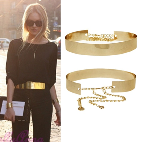 Gold Metal Belts for Women Mirror Waist Belt Plate Wide Obi Band .