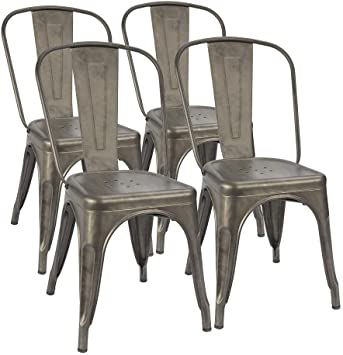 Amazon.com: Furmax Metal Dining Chair Indoor-Outdoor Use Stackable .