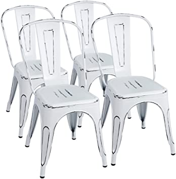 Amazon.com: Furmax Metal Chairs Indoor/Outdoor Use Stackable Chic .