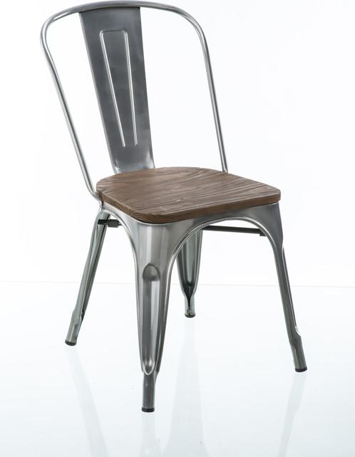 Modern Farmhouse Gun Metal Dining Chairs, Set of 2 - Industrial .