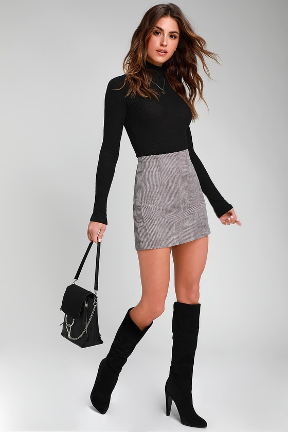 Cute Light Grey Skirt - Grey Mini Skirt - Corduroy Mini Ski