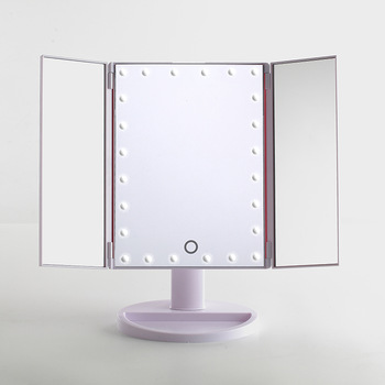 Makeup Mirror,Trifold Vanity Mirror With Lights,Touch Screen Usb .