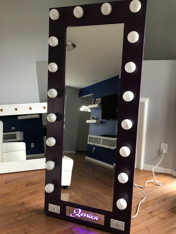 Full Length Mirror with lights and name | Et