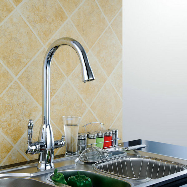 LED Contemporary Nickel Brushed Pull-out Kitchen Tap T0783N .