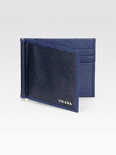 Prada - Saffiano Leather Money Clip Wallet - Saks.com (com imagens .