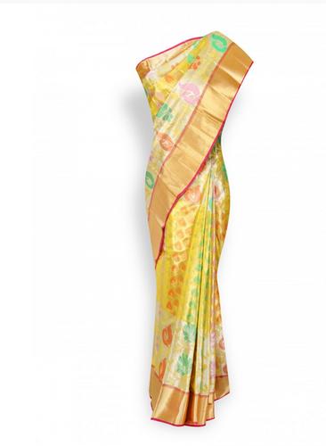 Wedding Wear Multi Colour With Gold Border Pure Kanchipuram Silk .