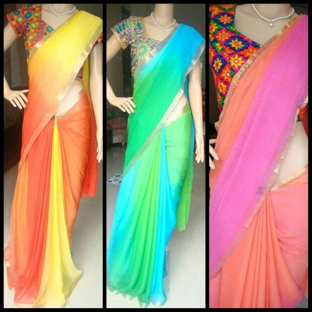 multicolour #chiffon #saree #kutch #blouse #zatwa | Elegant saree .