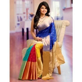 Sahaanaa Sarees Art Silk Multicolour Saree - P001 Price in India .