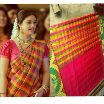 Red and multi colour checks Uppada pure silk saree |Uppada checks .