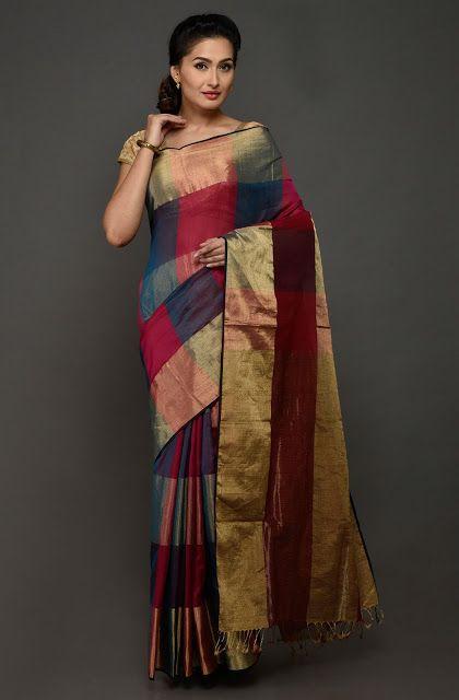 Maheshwari Multi Colour Saree (With images) | Cotton sarees online .