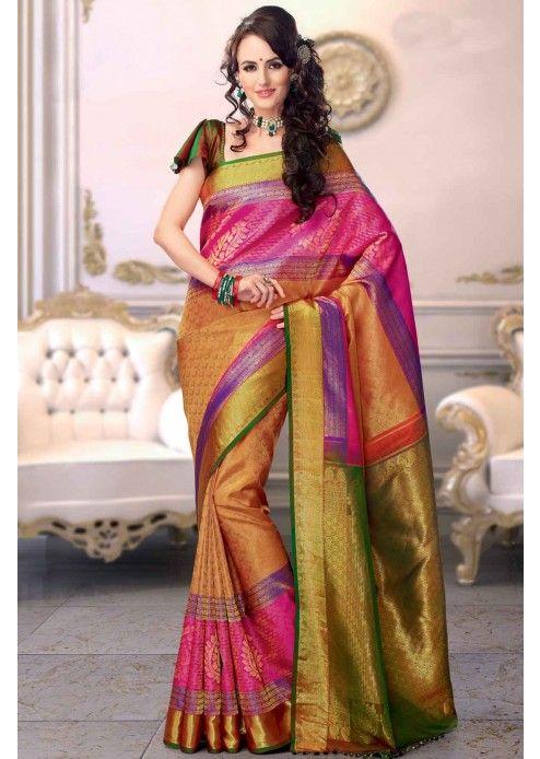 Multi-Colour Kanchipuram Silk Saree with Zari Work - SR2591 .
