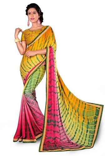 Shibori Crepe Print Multi Colour Saree With Embroidery Work at Rs .