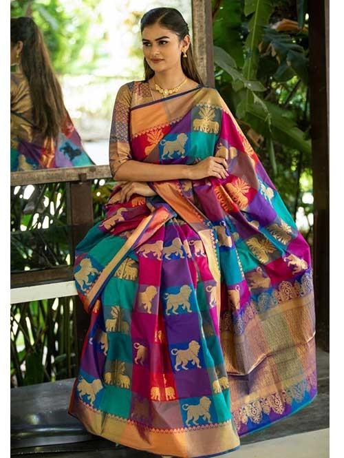 New Branded Multi Colored kanchipuram silk saree - grabandpack.com