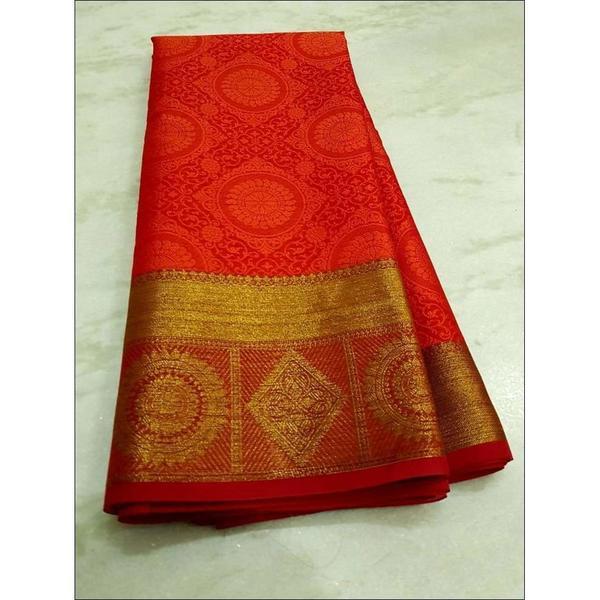 Orangish Red Grand Wedding Design Banarasi Kora Muslin Sar