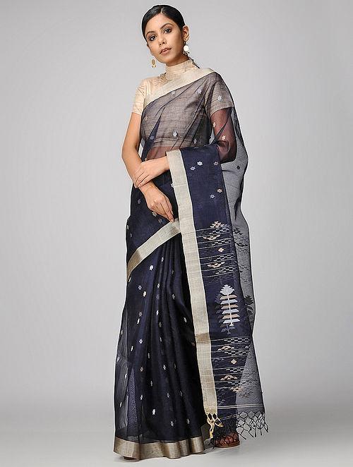 Buy Blue Dhakai Muslin Saree Online at Jaypore.c