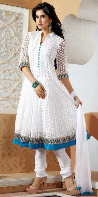 USD 163.65 White Embroidered Net Salwar Suit 28775 | Pakistani .